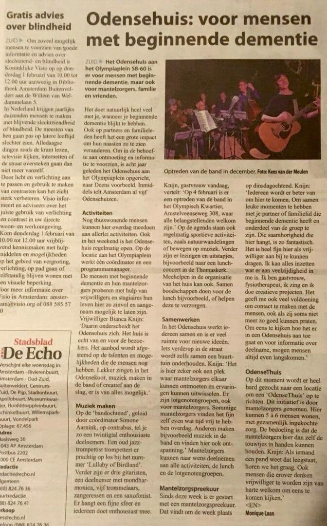 artikel in Stadsblad De Echo